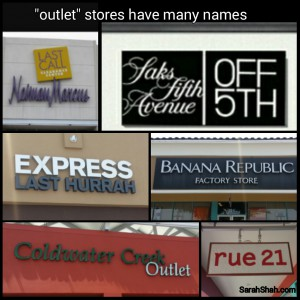 outlet store names - sarah shah